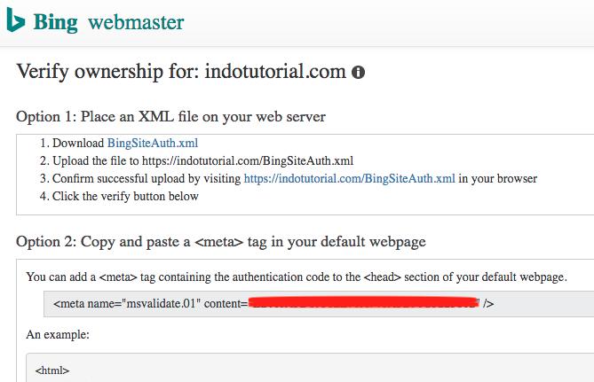 Cara Verifikasi WordPress Pada Bing Webmaster Tools Verifikasi