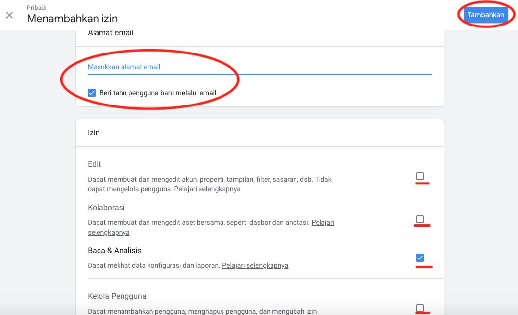 Cara menambah Admin di Google Analytics Setting Tambah Pengelolah
