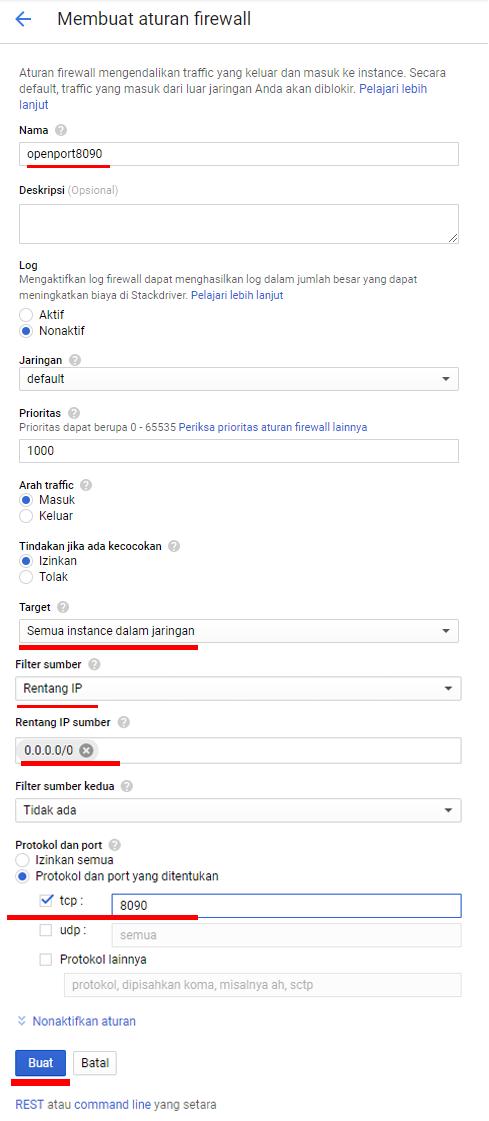 Cara Open Port di Google Cloud Firewall Open Port