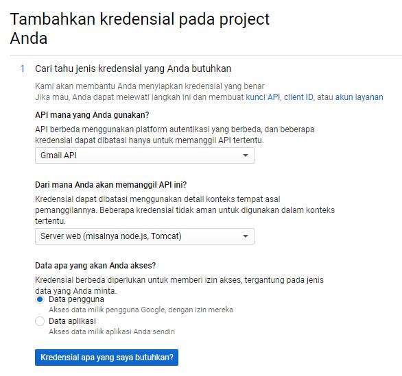 Cara Create Web App di Google Account Tambahkan Kredential