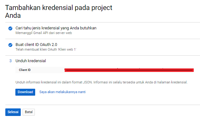 Cara Create Web App di Google Account tambah CLient