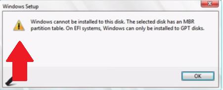 Cara install Windows di Mac tanpa Bootcamp - Error HD MBR
