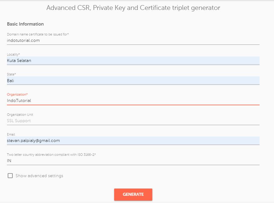 Cara Install dan Aktifasi SSL di Nginx Ubuntu Generate CSR