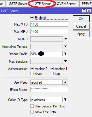 Membuat VPN Server di Mikrotik (L2TP) dengan encryption IPSec - L2TP Server